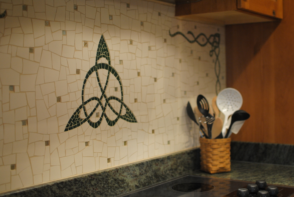 Celtic mosaic kitchen backsplash detail