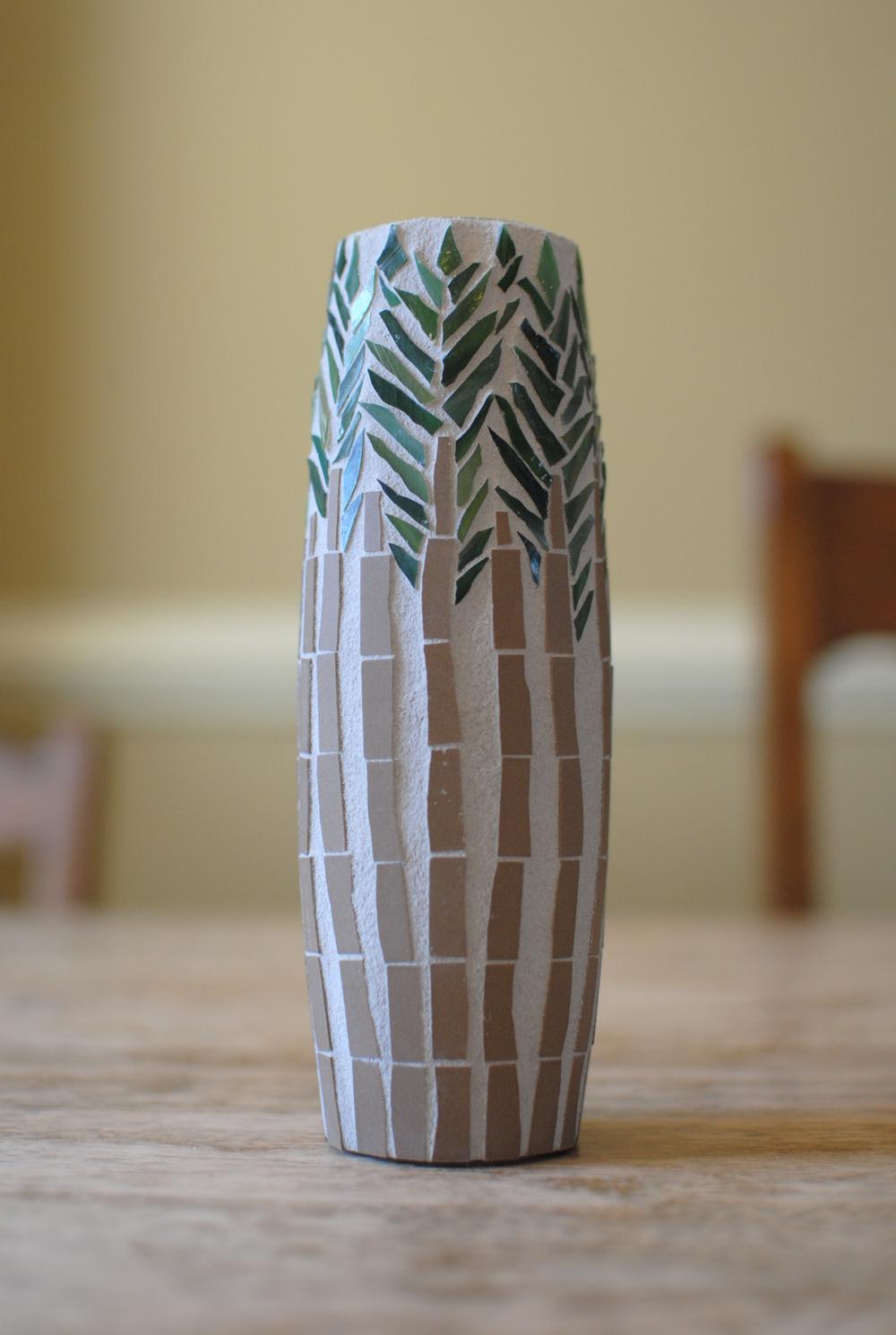 Forest mosaic bud vase