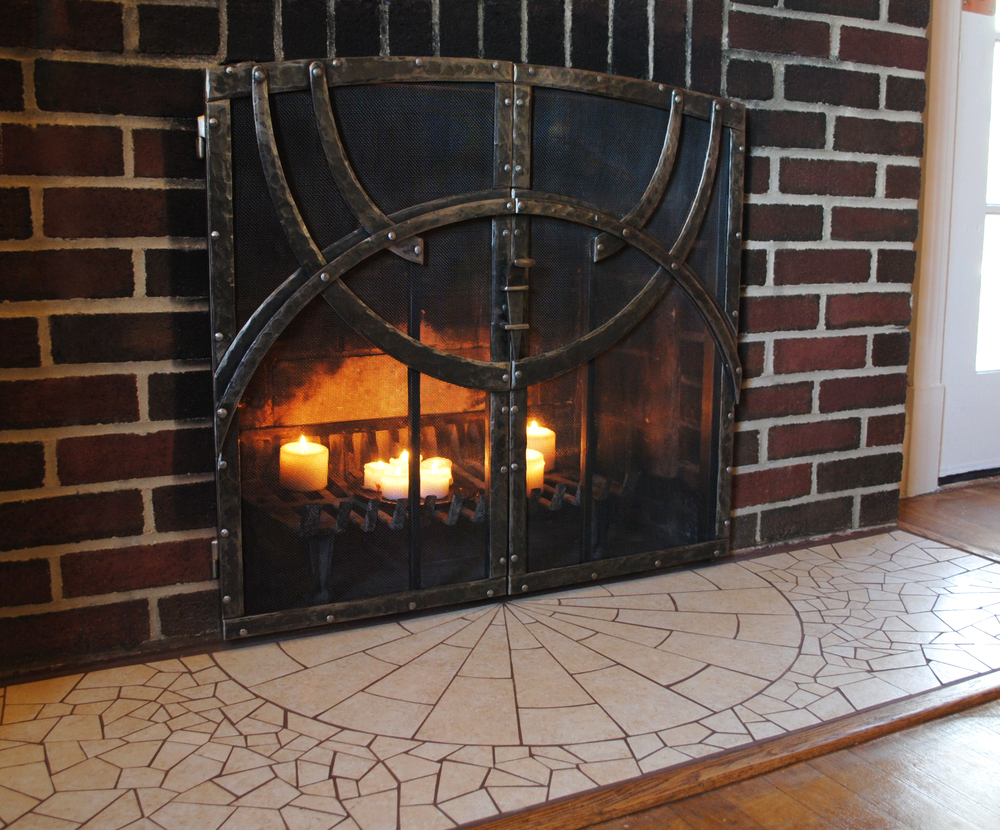 Firescreen and Mosaic Hearth