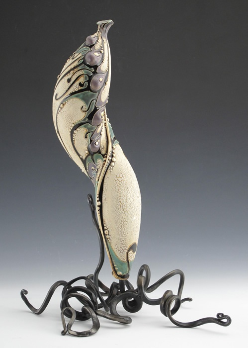 Ceramic by Carol Long, forged steel by Dustin Sypher.