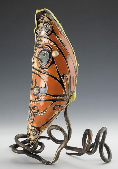 """""""Chrysalis"""", 9""""w x 12""""h. Ceramic byCarol Long, forged steel byDustin Sypher"""