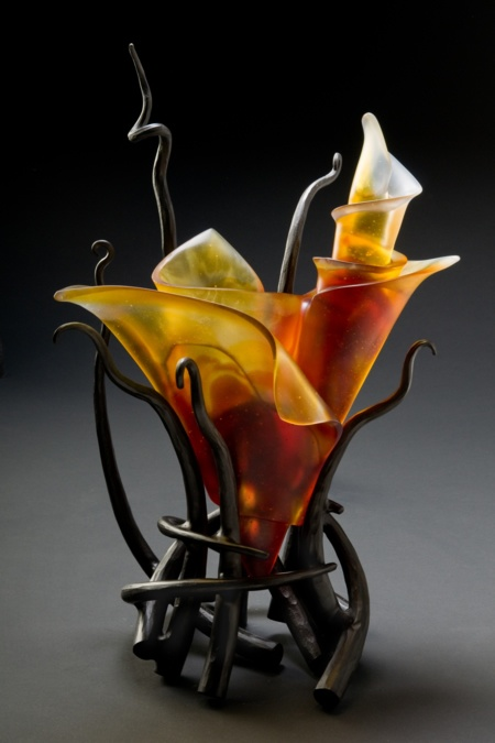 """Ikebana #11"", 22""h x 16""w x 10""d. Cast crystal and forged steel by Brian Russell. Russell is unique in his ability to combine lost wax glass casting with forged and fabricated metal in one studio."