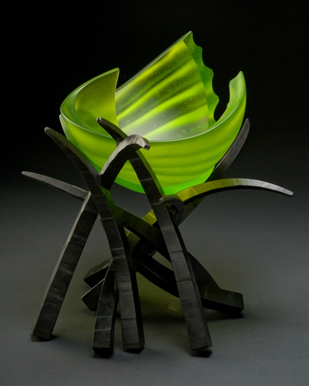 """Hemisphere: Fantasty"", 14""h x 20""w x 12""d. Cast glass and forged steel by Brian Russell."