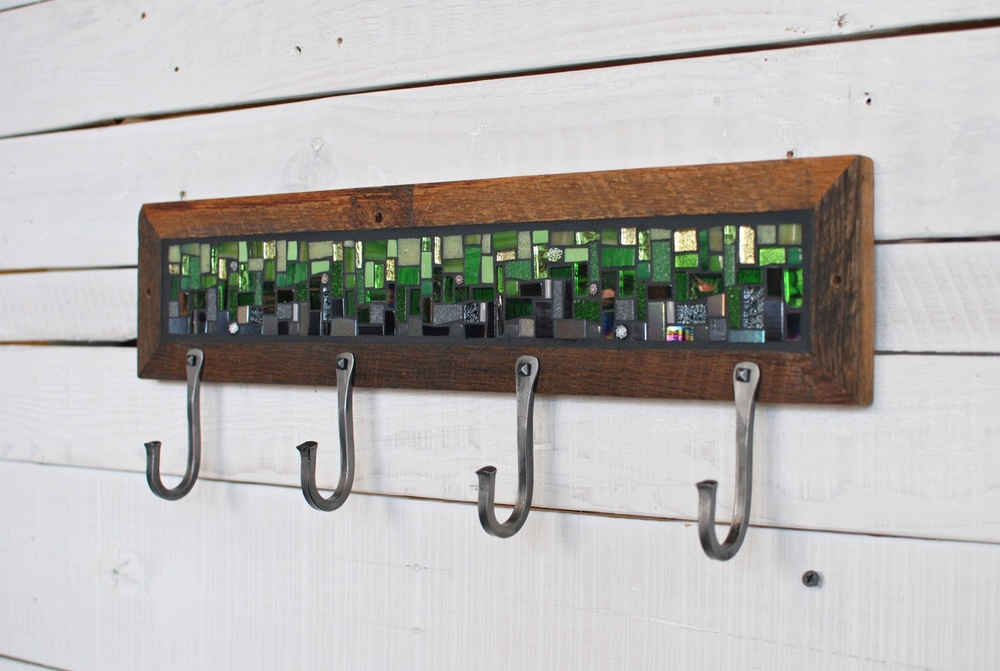 Mosaic Coat Rack with hand forged fooks