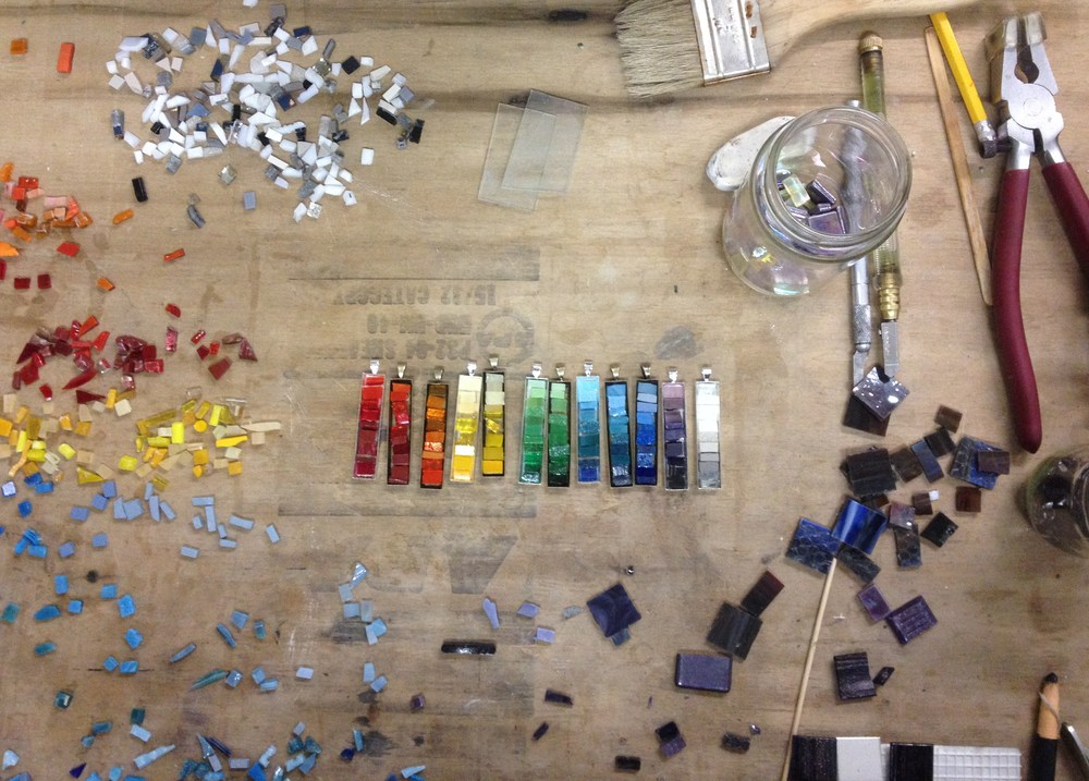 Latest grouping of mosaic pendants before they were grouted. Come on out to the show to see the completed version!
