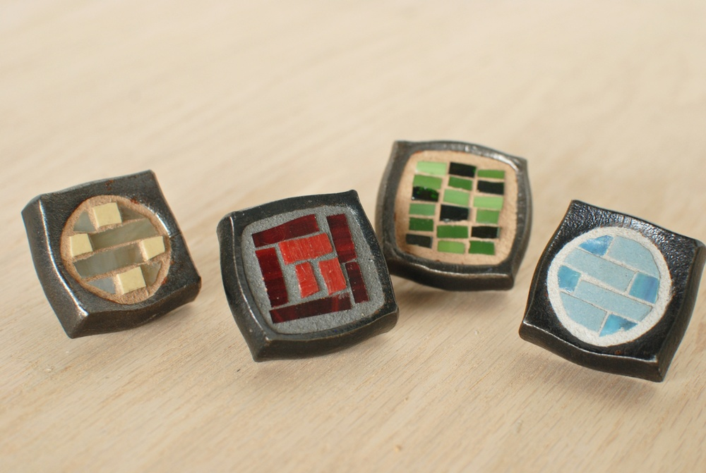 Hand forged drawer knobs with mosaic inlay