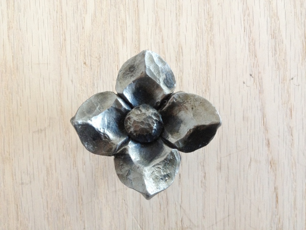 Hand forged dogwood flower drawer pull