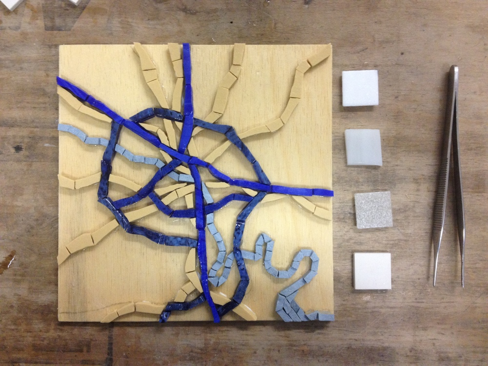 The first piece in the series is a roadmap of the metropolitan Richmond region. I wanted to create a look somewhere between the Google map we know today, and a classic road map. The four tiles on the right are background color options. The top three are glass. I ended up going with the unglazed porcelain at the bottom.