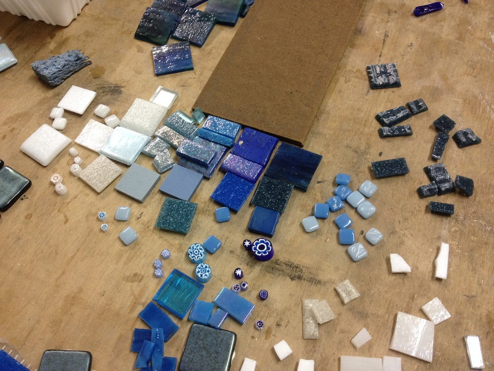 Arranging the palette for a blue and white mosaic based on  the very first one  we made in green and white.