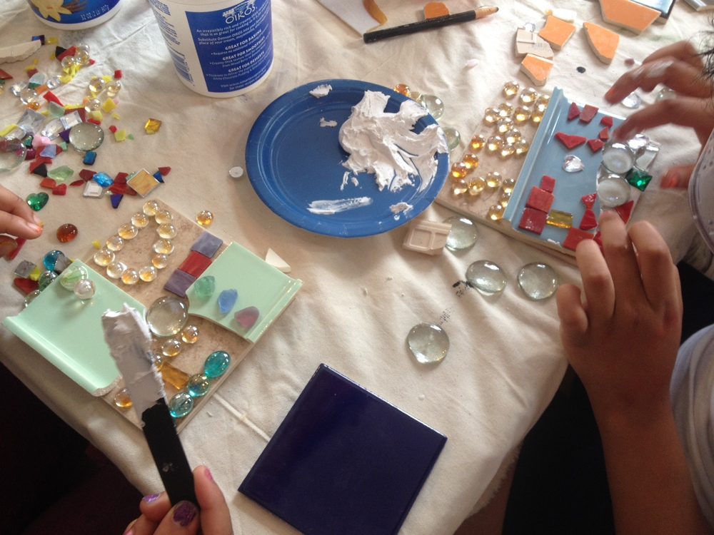 Johannah described a fairly spontaneous method of mosaic-making to the kids, and they ran with the idea.