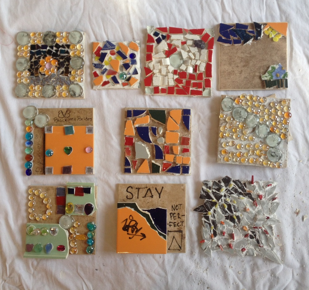 There's so much personality in each and every one of these pieces. Johannah described the technique of stacking tesserae or mosaic pieces, and several put this idea to good use in their work.
