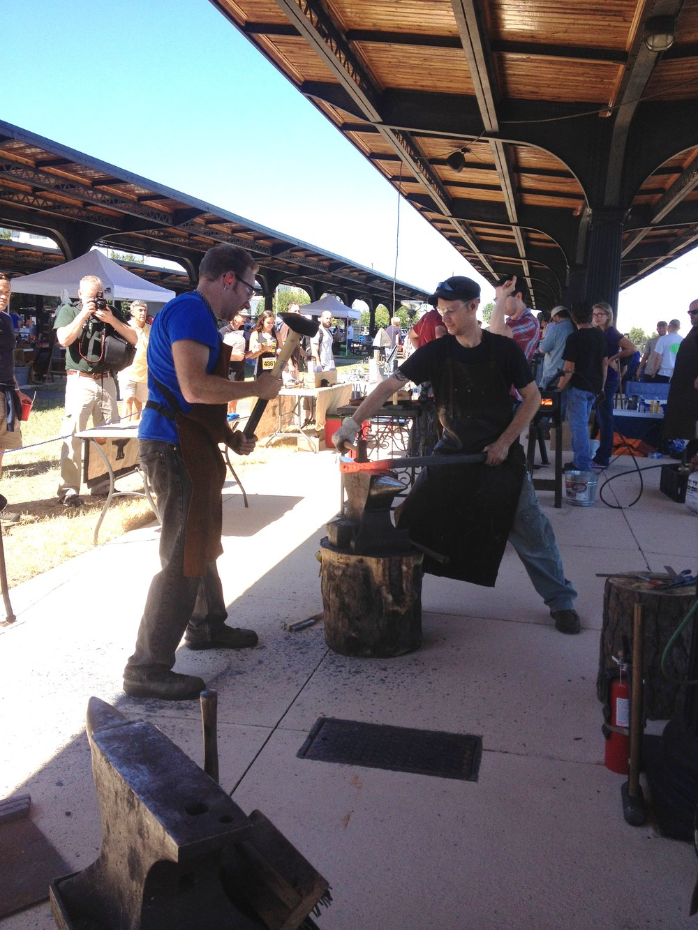 Kyle and friends, plus the gang from the Central Virginia Blacksmith Guild, spent the day demonstrating at the anvil.
