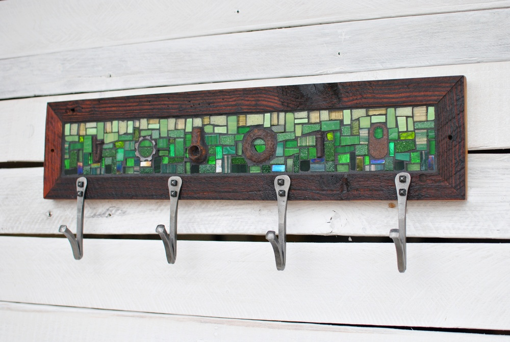 Green Mosaic  with Rusty Objects