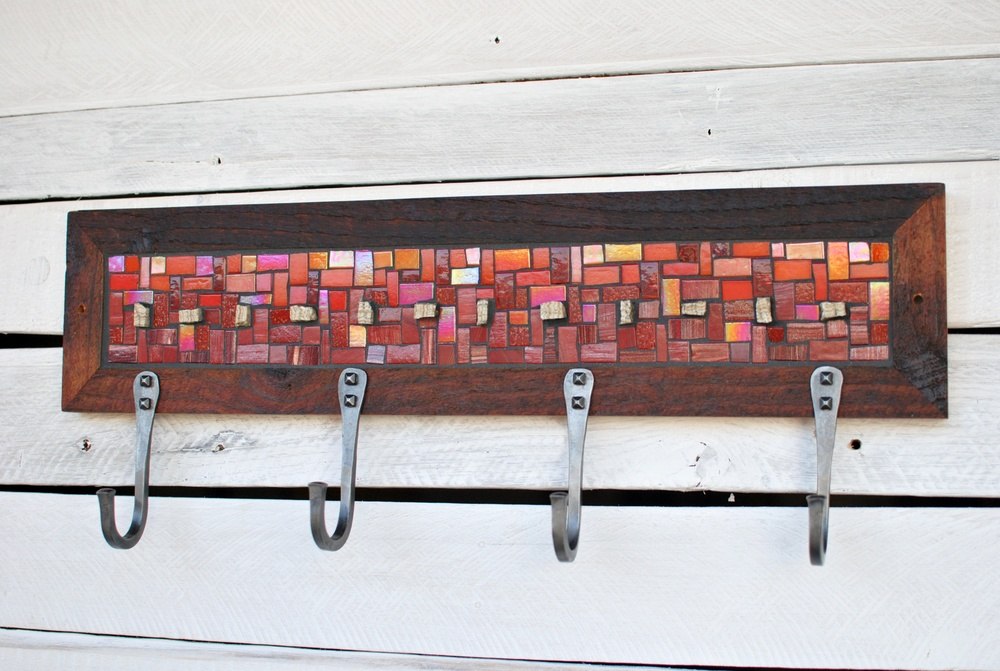 Red Mosaic Coat Rack