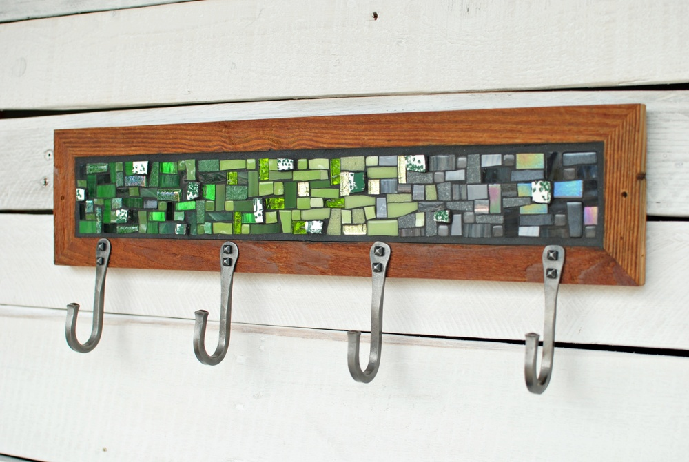 Green & Gray Mosaic Coat Rack