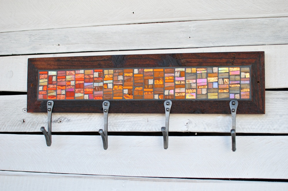 Orange Mosaic Coat Rack