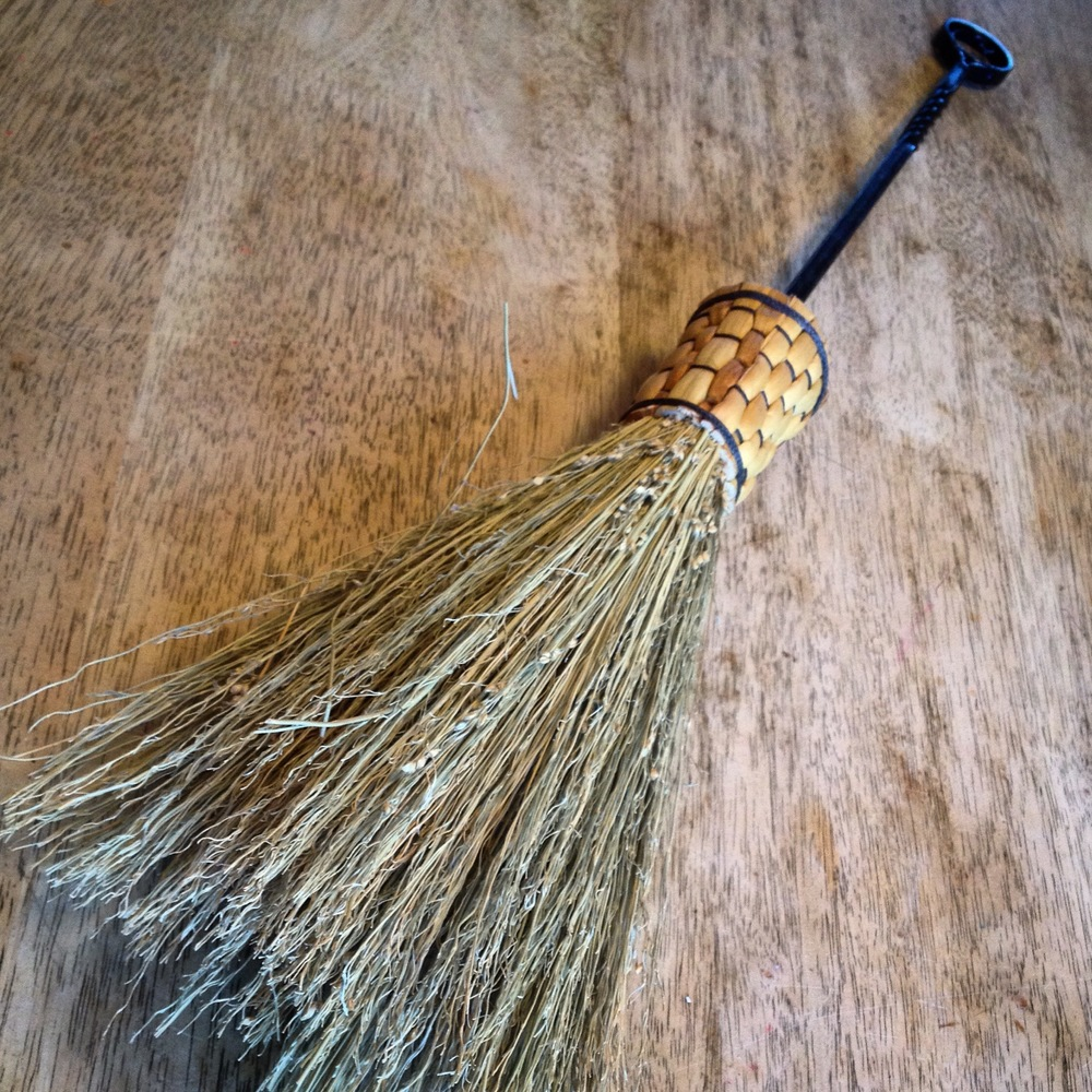 Custom fireplace handmade broom with a hand forged handle