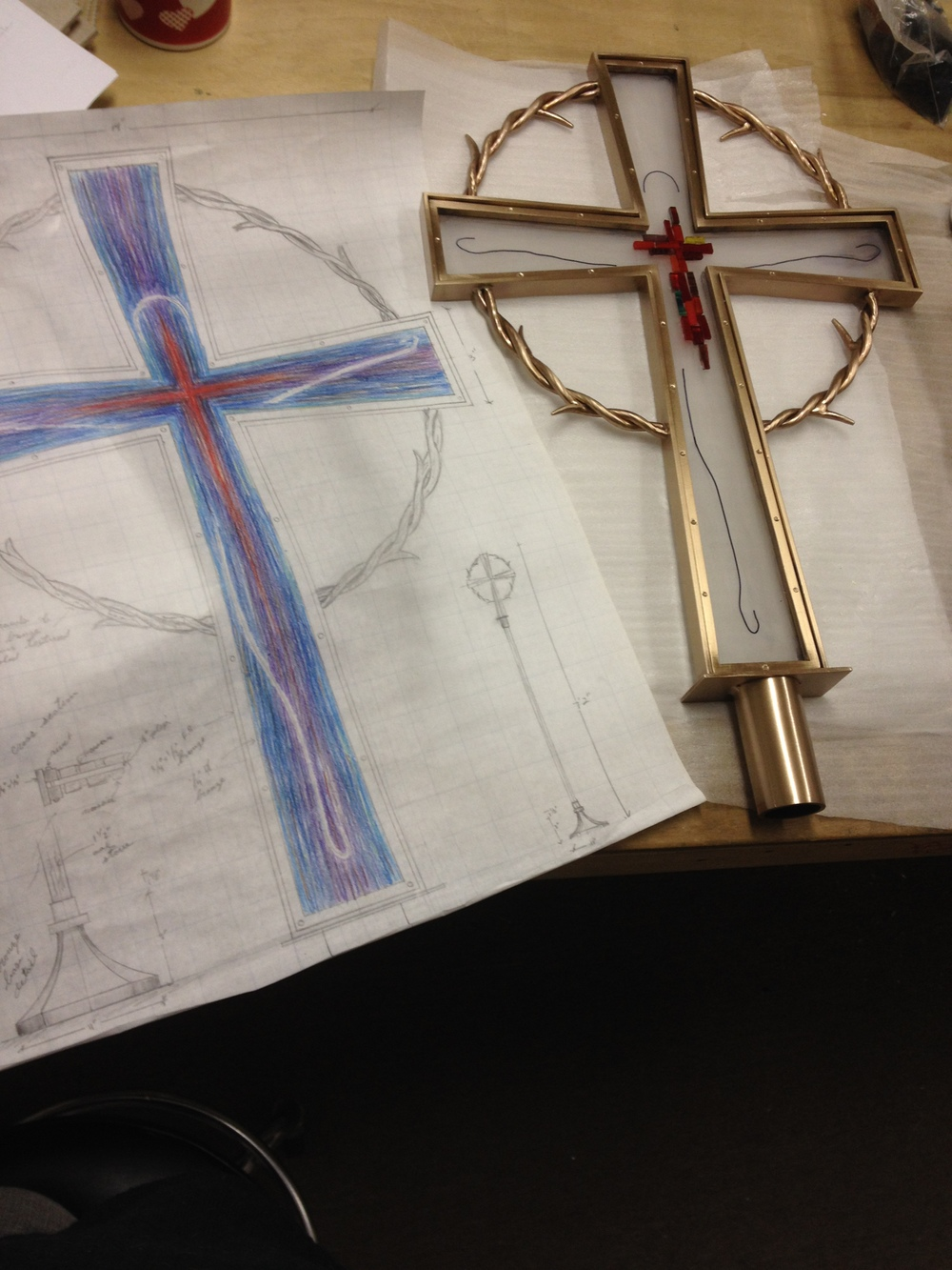 Mosaic cross in process 1 PH2015.JPG