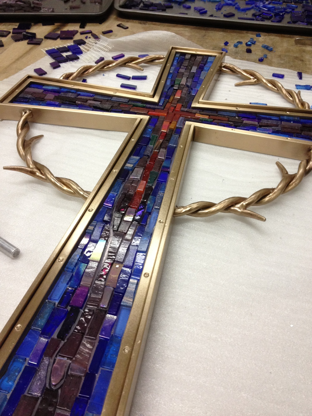 Mosaic cross in process 3 PH2015.JPG