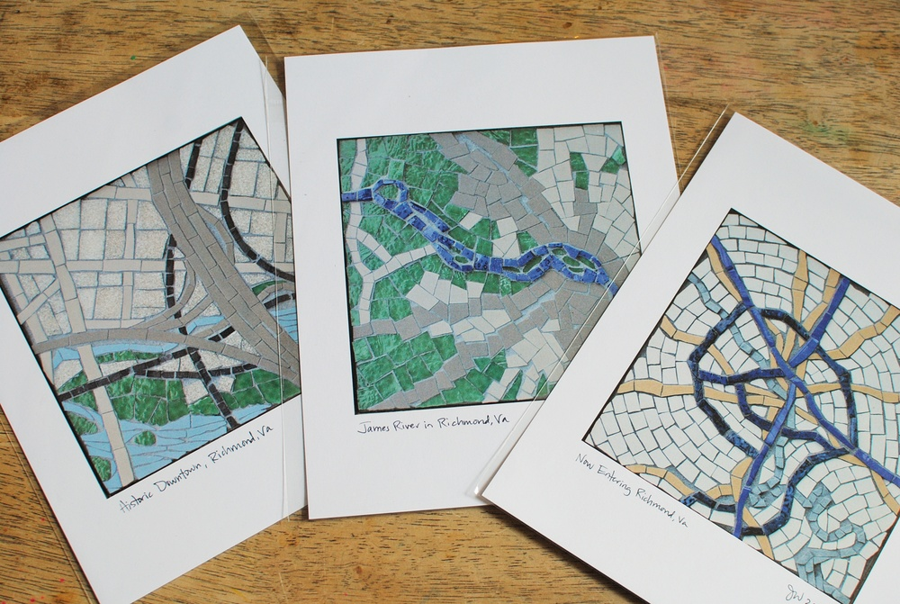 Richmond, Virginia mosaic map print series