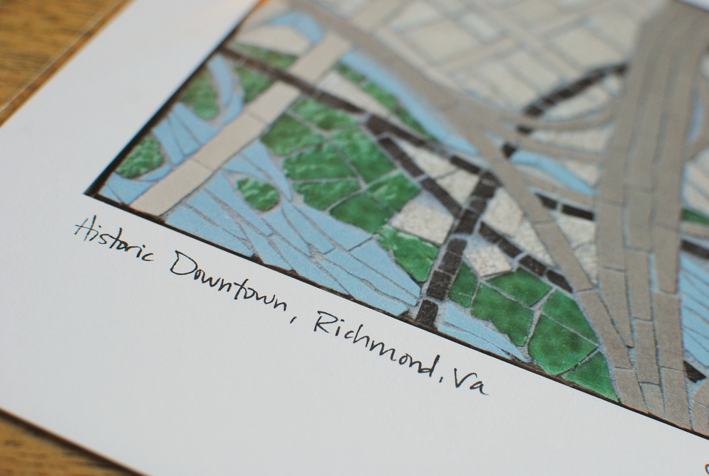 Historic downtown Richmond, Virginia mosaic map print