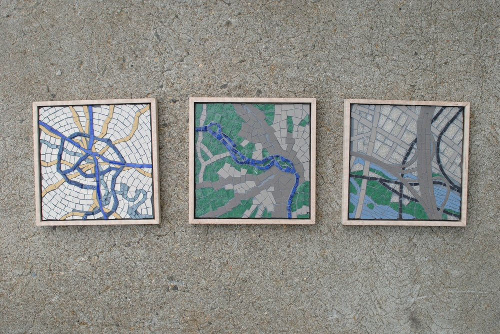 Framed Richmond, Virginia original mosaic map series
