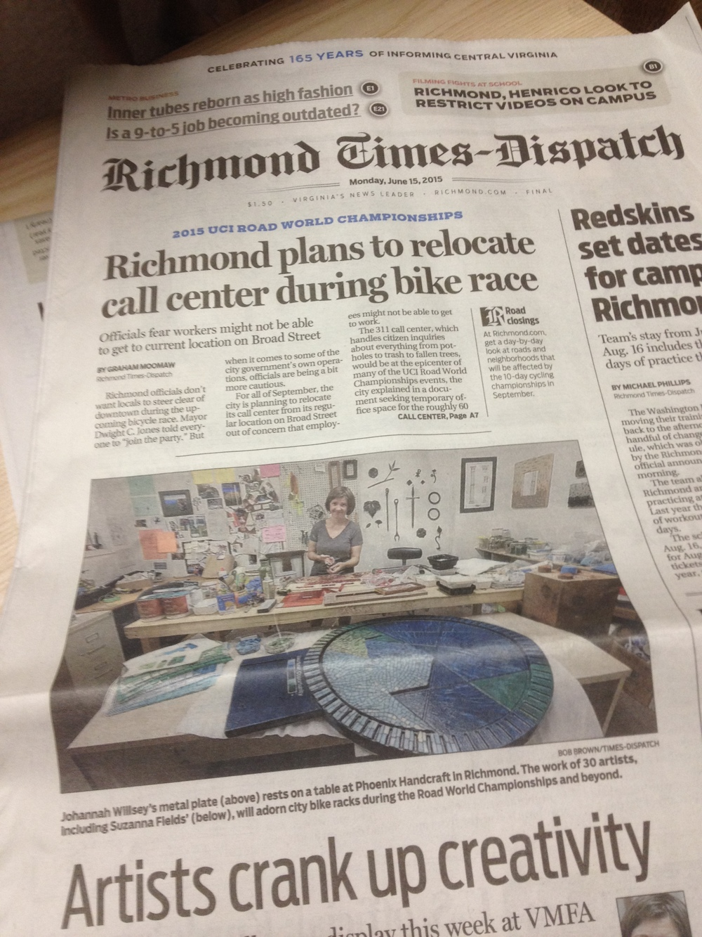 Custom sculptural mosaic made the local front page news