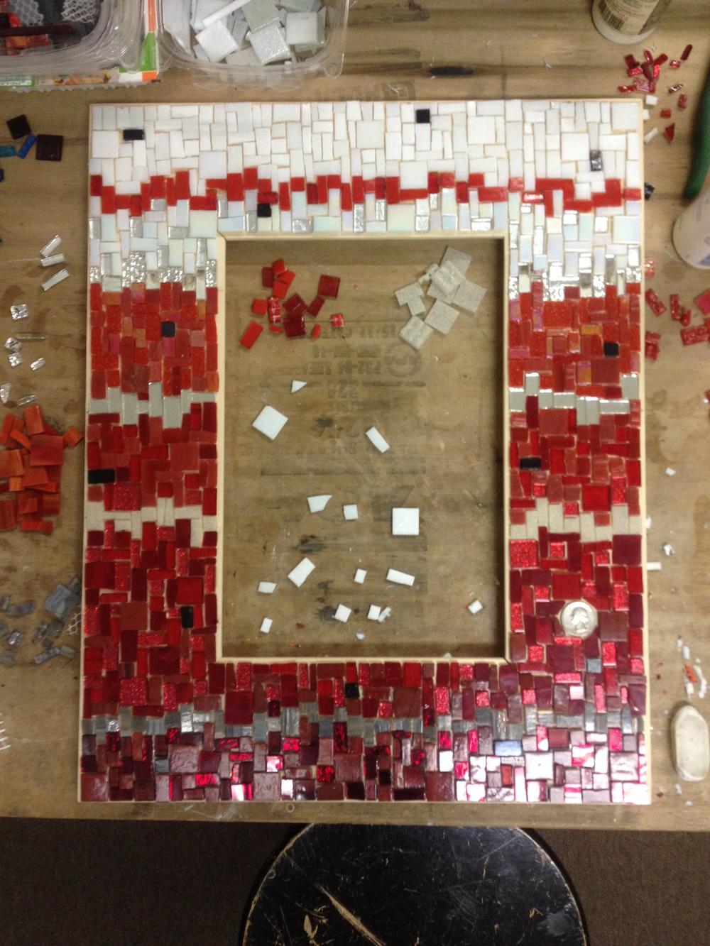 Custom anniversary gift mosaic mirror