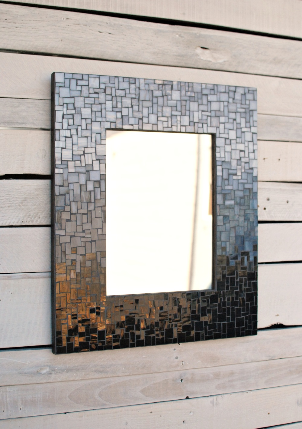 Custom bathroom mosaic mirror