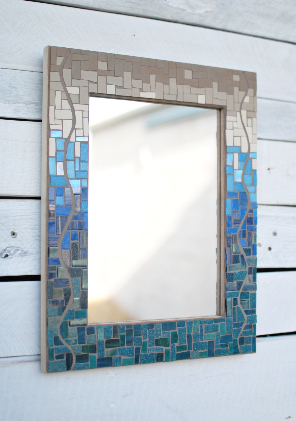 Seaside Gradient Mosaic Mirror in blues and tans