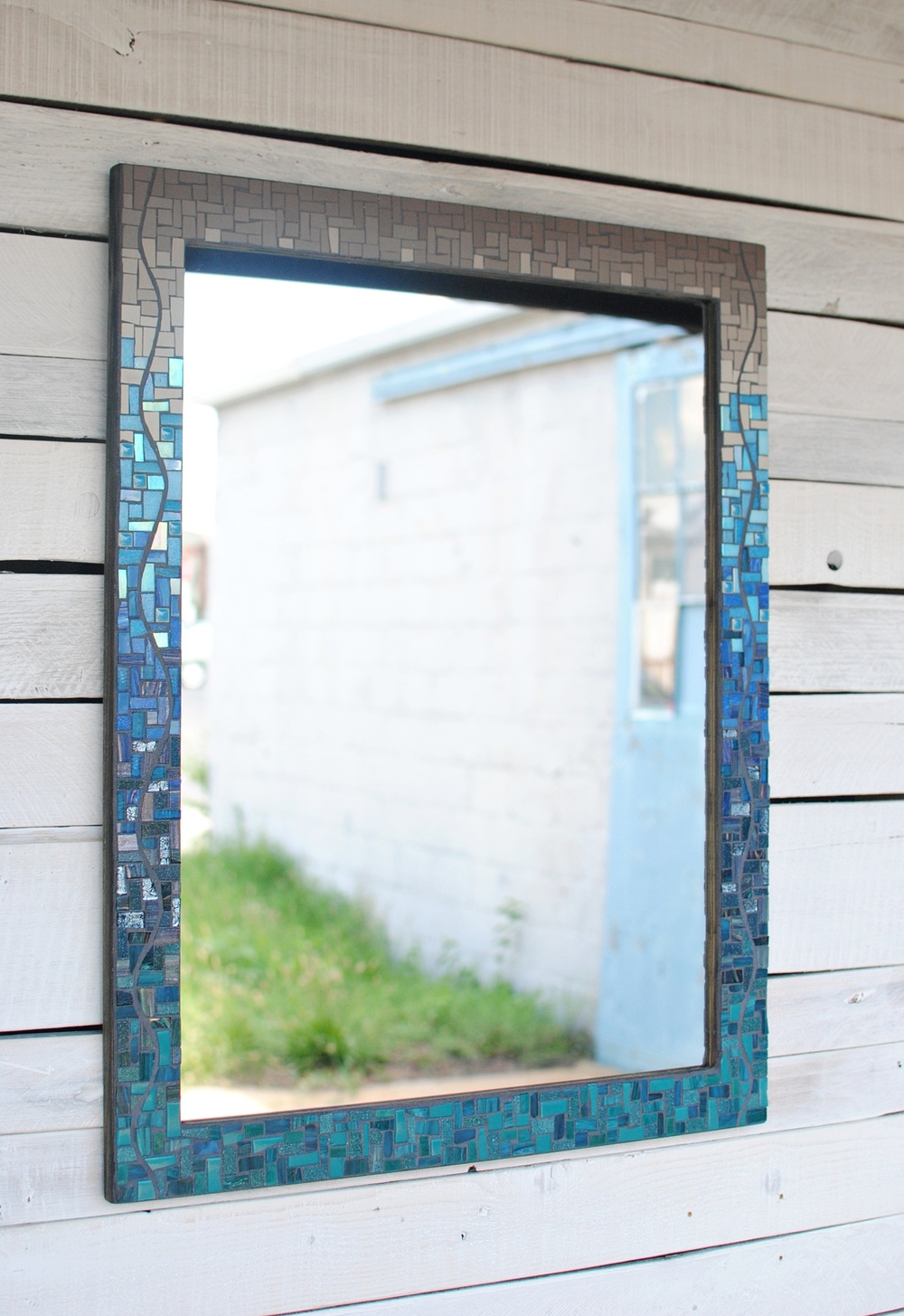 Custom mosaic bathroom mirror