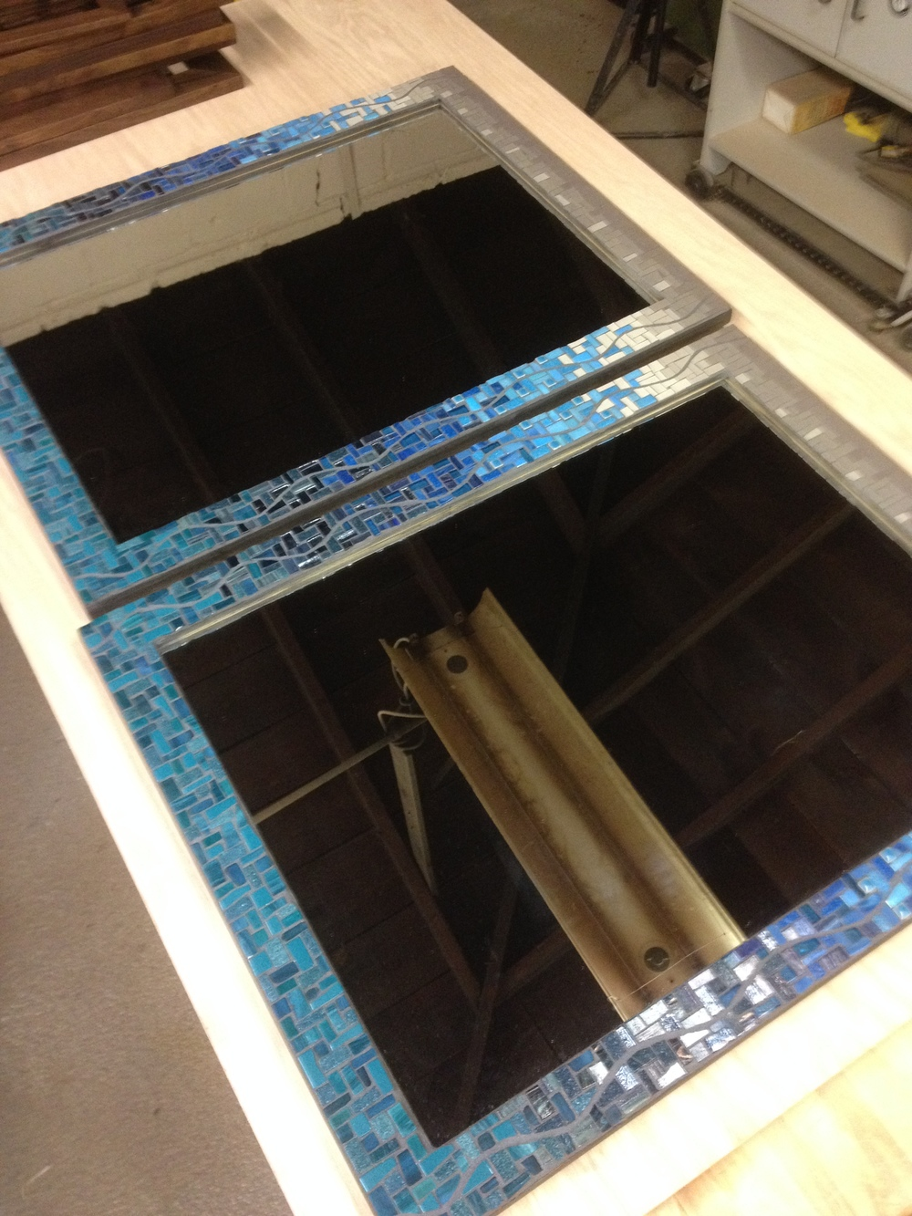 Custom bathroom mosaic mirrors