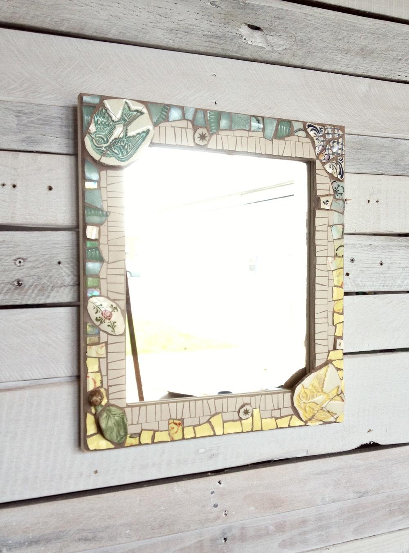 Custom mosaic memorabilia mirror