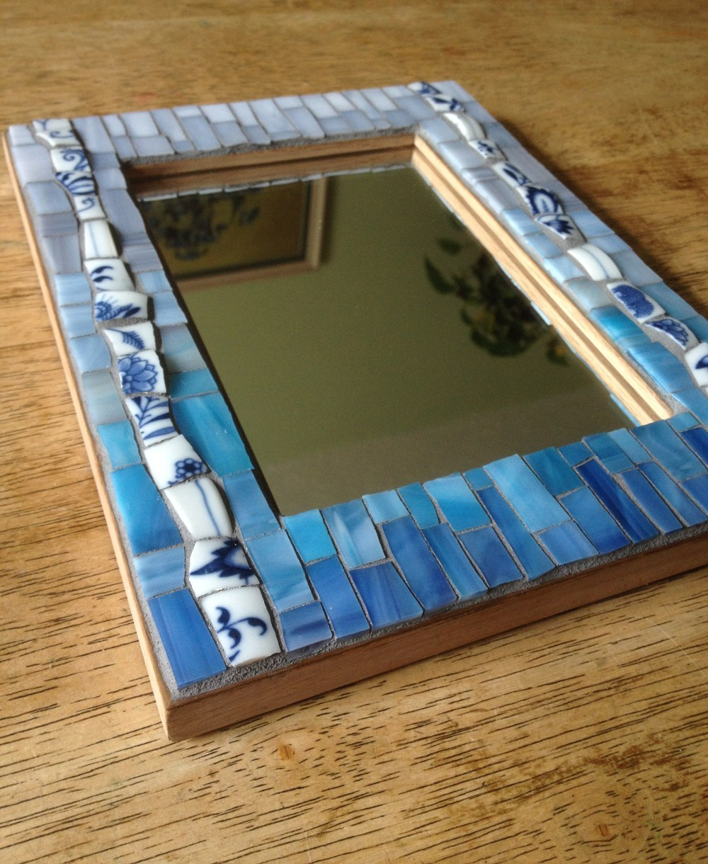 "Small custom ""last look"" mosaic mirror"