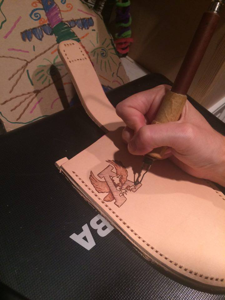 Leather knife sheath in process