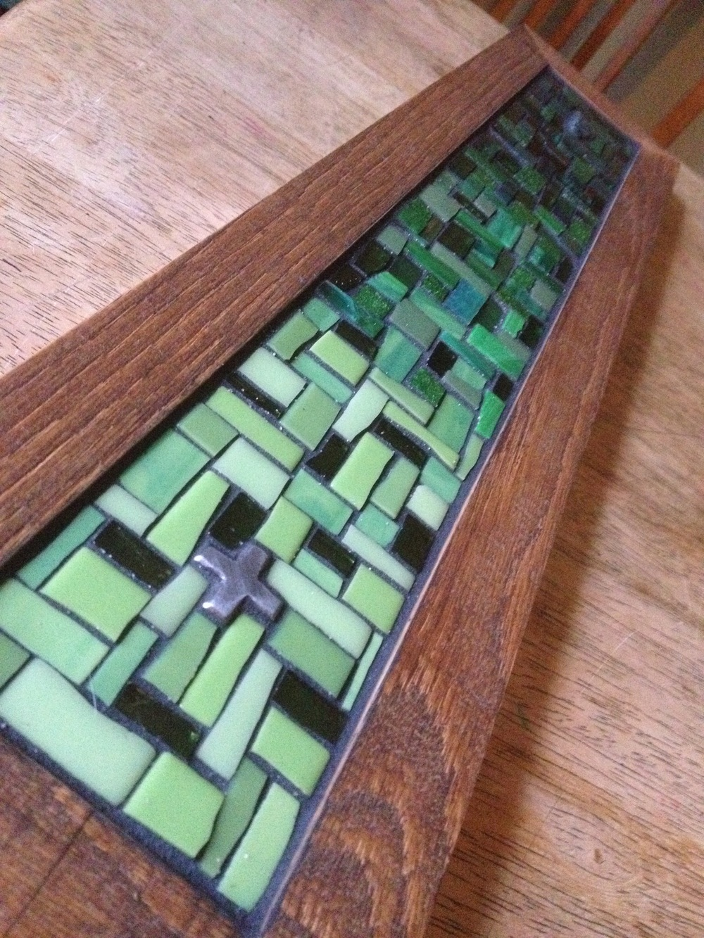 Custom mosaic coat rack in green
