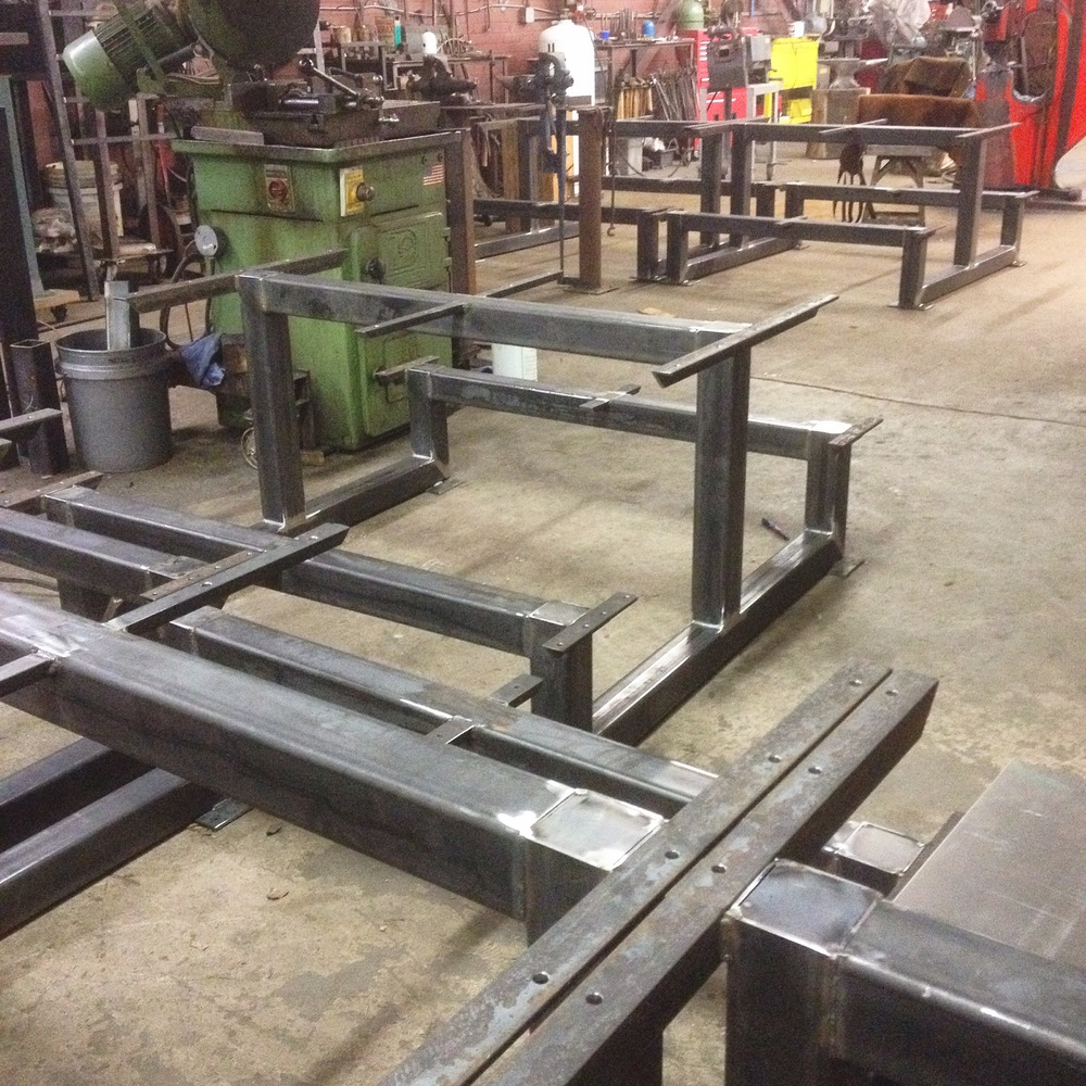 Picnic tables in progress in the metal studio