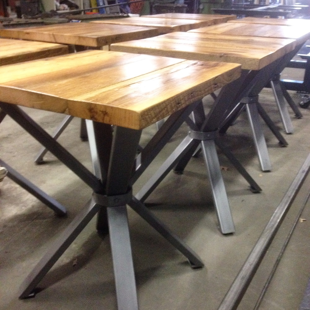 Custom cafe tables for Stone Brewery tasting room ready to go