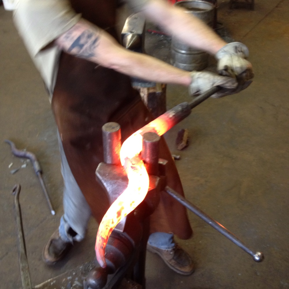 Forging custom door handles for Stone Brewery