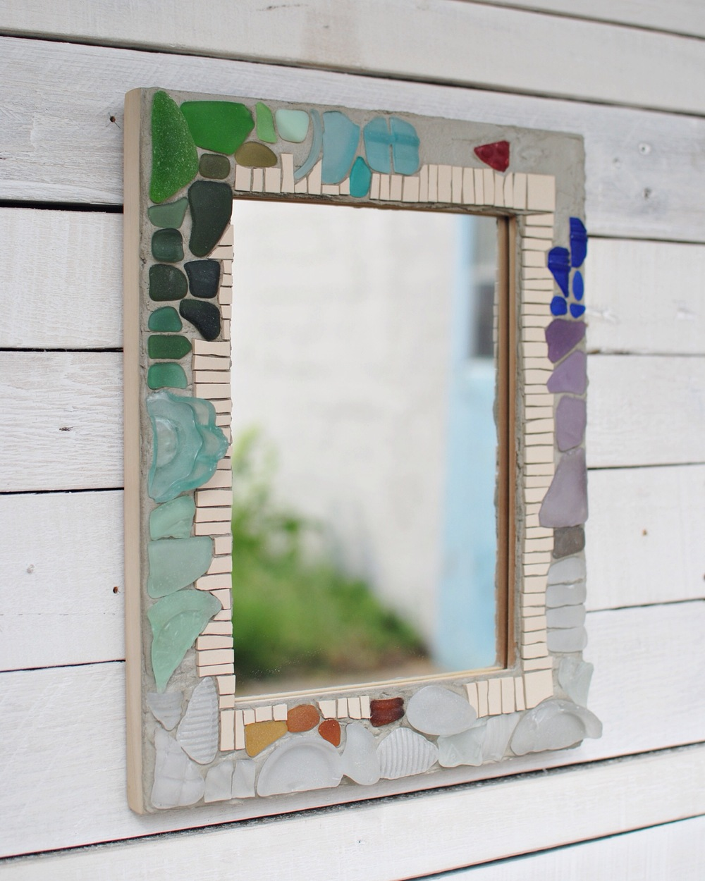Custom seaglass mosaic mirror