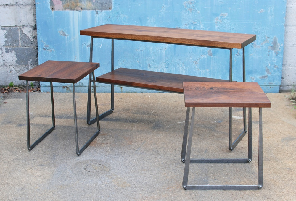 Walnut top console & end tables with hand forged steel bases