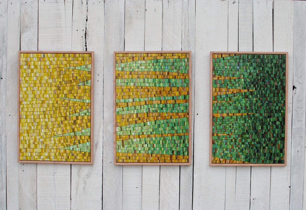 Nothing Gold Can Stay mosaic triptych