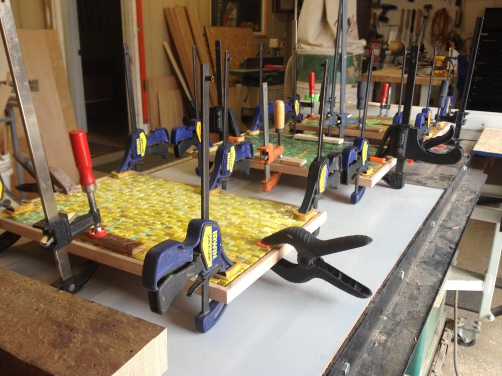 Installing custom mosaics in handmade frames