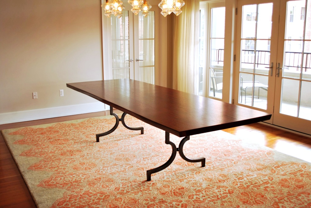 Dining Table with forged steel base