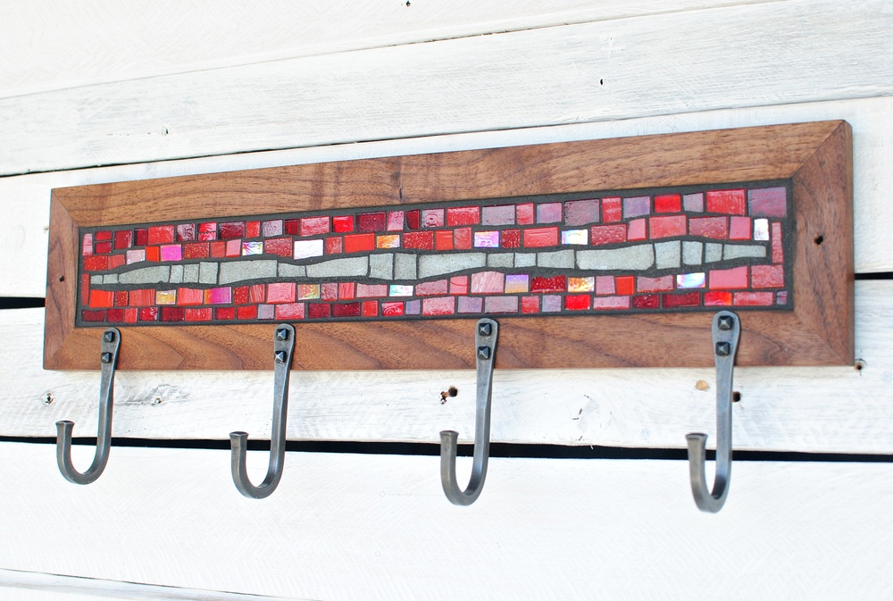 Red & Gray Mosaic Coat Rack