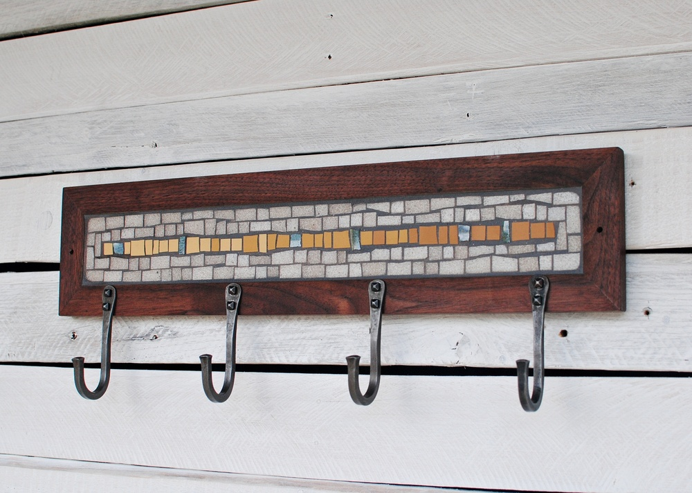 White & Yellow Mosaic Coat Rack