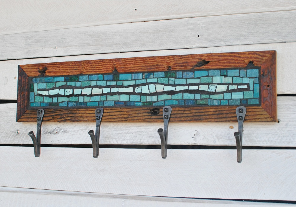 Teal Mosaic Coat Rack