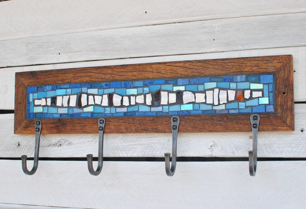 Blue & White Mosaic Coat Rack