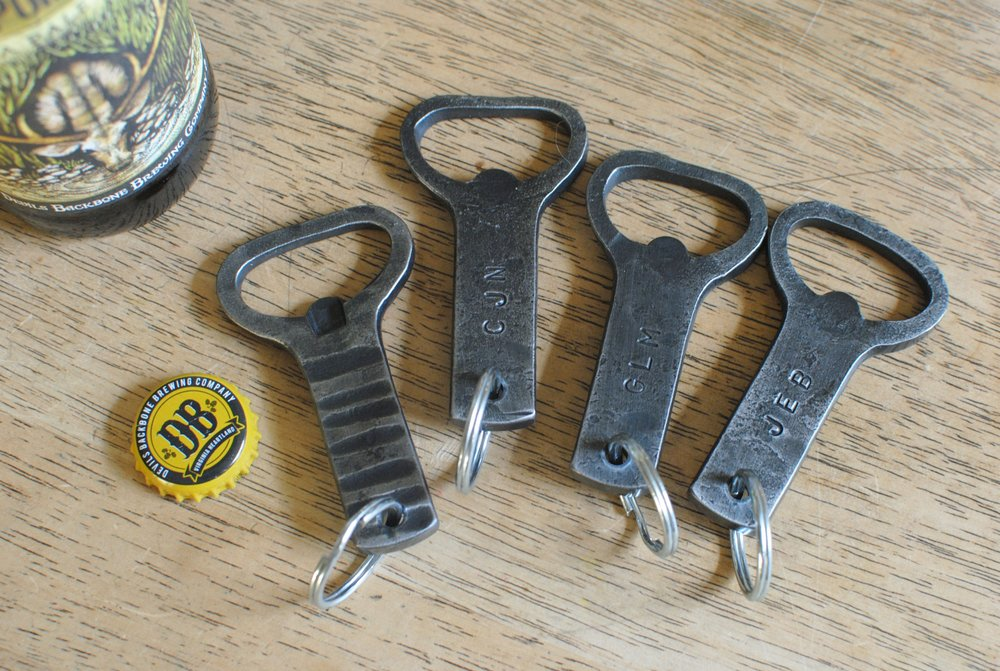 Personalized hand forged bottle openers