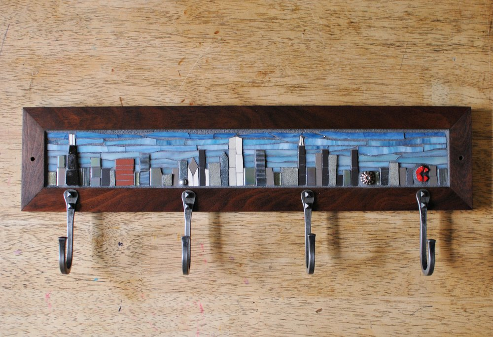 Chicago Skyline mosaic coat rack